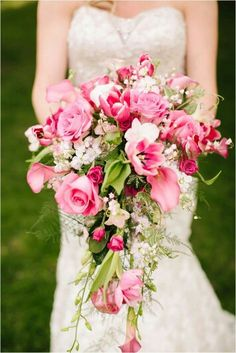 Cascading Bridal Bouquet: Pink Roses, Pink Tulips, Pink Callas, Hot Pink Spray…