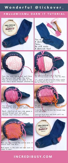 Guest post - Bryony from conscious hand embroidery ~ Incredibusy - how to darn a sock Embroidery Techniques, Sewing Techniques, Embroidery Stitches, Hand Embroidery, Embroidery Patterns, Sewing Projects For Beginners, Knitting Projects, Knitting Patterns, Sewing Patterns