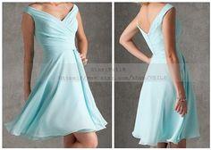 Tiffany Blue Bridesmaid Dress Long Dress with straps Knee length Chiffon A-line Chiffon Prom Dresses