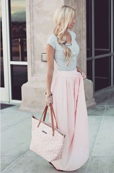 Spring look Blush Maxi Skirt. Pins And Needles Yoke Chiffon Maxi Skirt in Blush (also available in Black) Maxi Skirt Outfits, Dress Skirt, Chiffon Maxi Skirts, Maxi Skirt Outfit Summer, Long Skirt Outfits For Summer, Pleated Maxi, Flowy Skirt, Summer Clothes, Outfits For Vegas