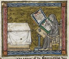 Hermit at work on a manuscript, from the Estoire del Saint Graal, France (Saint-Omer or Tournai?), c. 1315 – 1325