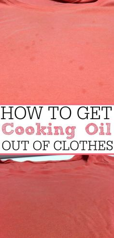 Oil stains on your favorite shirt? Check out this crazy simple tip on how to get… Oil stains on your favorite shirt? Check out this crazy simple tip on how to get cooking oil out of clothes. They will look like new again! Pin: 236 x 491 Deep Cleaning Tips, House Cleaning Tips, Diy Cleaning Products, Cleaning Solutions, Spring Cleaning, Cleaning Hacks, Cleaning Checklist, Cleaning Closet, Green Cleaning