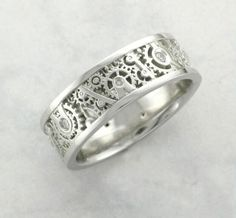 Steampunk ring with diamonds