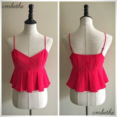 Red Peplum Crop Top S Good condition. Size S. Red peplum style. Displayed on dress form 34-26-36. 5'7. Happy poshing! Tops Crop Tops