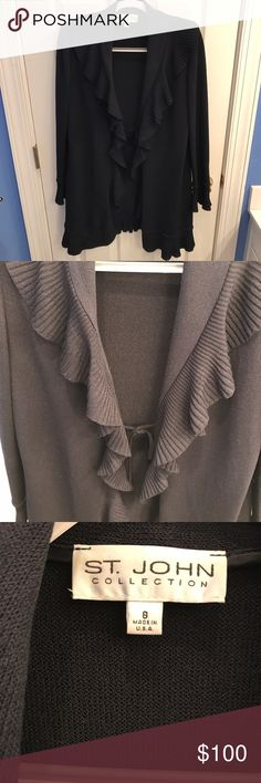 Beautiful St. John Sweater This is a great St. John Sweater. My favorite part is the frilly front it is extremely flattering. Feel free to ask questions or make an offer! St. John Sweaters Cardigans
