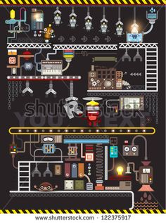Robot engineering, Robot Factory, Vector illustration. factory Map and Information Graphics.