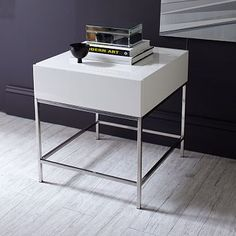 """West Elm Lacquer Storage Side Table. 20""""w x 22""""d x 22""""h. White high-gloss lacquer finish.  Stainless steel legs in Polished Nickel."""