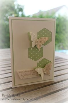 pretty green on cream, wtih cream butterflies Scrapbooking, Scrapbook Cards, Cool Cards, Diy Cards, Hexagon Cards, Hexagon Quilt, Sympathy Cards, Greeting Cards, Cas Christmas Cards