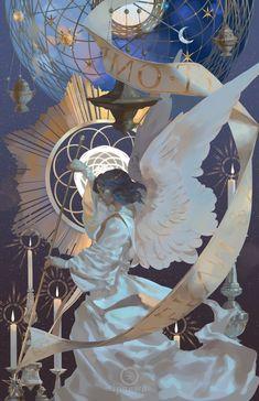 Announcer an art print by awanqi - INPRNT Illustrations, Illustration Art, Wow Art, Angel Art, Pretty Art, Aesthetic Art, Oeuvre D'art, Dark Art, Art Inspo
