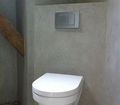 deco toilette enduit effet beton gris wc suspendu blanc