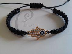 bracelet evil eye hamsa macrame black 16cm-6,3 inch alloy tinas creations plated #TinasCreations #handmademacrameadjustablebracelet