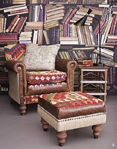 Silla Avalon y puff en cuero tapizados con kilims, $13.565.000, en Roche Bobois.
