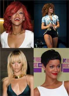 Rihanna has rocked bright red hair, natural-looking brunette waves, short bleach blond locks, and, most recently, a black pixie cut.