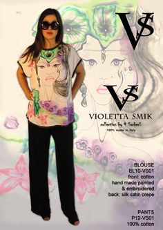 """Blouse BL10-VS01 - 100% Silk Satin Crèpe - Cotton & Hand Painted - Hand Embroidered - Sizes Italian (from 38 to 62 tailored) - Limited Edition Series (maximum 100 Pieces for model) - """"Violetta Smik"""" is produced by Sephirot Productions of Milan under the brand """"4SuckerS"""" - 100% MADE IN ITALY - 100% NATURAL FIBRES AND ECOLOGICAL - 100% HAND PAINTED - 100% HAND EMBROIDERED - Try it to believe! Authorized seller: Showroom SD Multibrand Milano street Visconti di Modrone 30. www.violettasmik.com"""