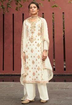 Churidar, Salwar Kameez, Silk Anarkali Suits, Raw Silk Lehenga, Eid Outfits, Indian Outfits, Indian Clothes, White Chiffon, White Silk