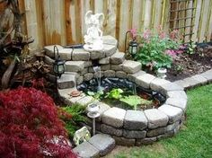 Very small garden pond.
