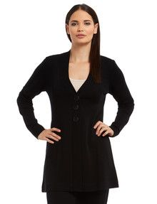 North South Merino Long-Sleeve Button Cardi, Black product photo