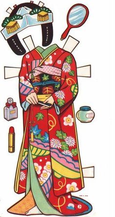 Vintage Japanese paper dolls  for 1500 free paper dolls, go to my website Arielle Gabriel's The International Paper Doll Society...