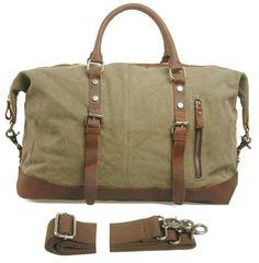 2013 de moda de lona de viaje de cuero tote + lienzo bolso del equipaje de viaje portátil bolsa de gran capacidad unisex de env&iacut...