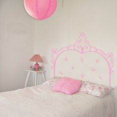 French Headboard Doodle Bed Frame Bedpost Wall by danadecals
