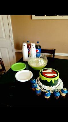 Ghostbuster cake and ghost cups