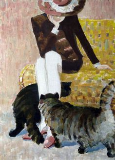 woman and cats: Leonid Kiparisov, 'On a Good. Crazy Cat Lady, Crazy Cats, She And Her Cat, Grey Tabby Cats, Cat Posters, Cat Drawing, Love Art, Cat Art, Illustration Art