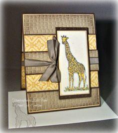 Masculine Giraffe -- Father's Day Card -- Handmade card
