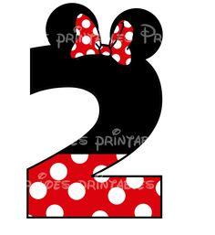 Minnie Mouse Age Birthday Number DIY iron On Printable  Disney Sweatshirt Pillowcase Shirt One Five Shorts. $5.00, via Etsy.