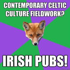 contemporary Celtic culture fieldwork?  Irish pubs!
