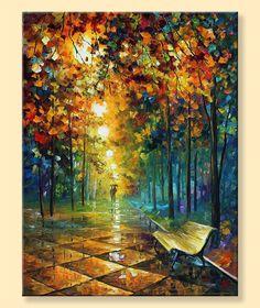 Misty Park  Limited Edition Landscape Colorful by AfremovArtStudio