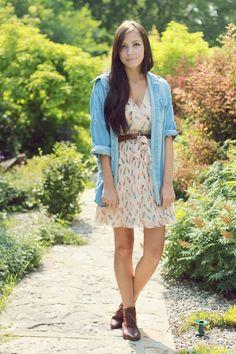 Summer dress with chambray shirt