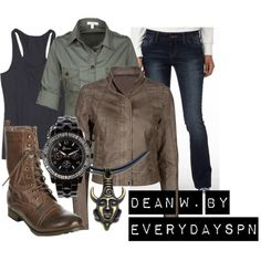 """Dean Winchester"" by redrubysyn on Polyvore ~ I don't like the shoes but the rest I do!"