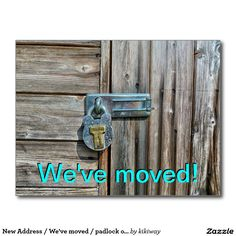 New Address / We've moved / padlock on the door Postcard