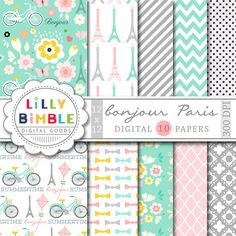 40% off Paris Digital Papers with Eiffel tower, travel, romantic, Modern…