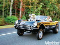1954 Chevrolet Corvette Gasser Front Three Quarters In Motion
