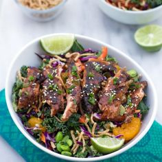 Asian Ginger Miso Salmon Salad is way more fun than your average healthy salad!