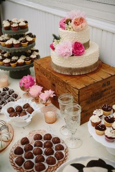Love the vintage feel of this dessert table.Its a must to have a variety of dessert for a girls night in party.