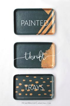 DIY Painted Navy and Metallic Gold Upcycled Thrift Trays