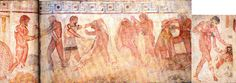 Tomba François. Parte della rappresentazione si identificherebbe con la figura leggendaria del sesto re di Roma, Servio Tullio-Mastarna (o anche Macstarna), alleato di Celio Vibenna (o Vivenna), entrambi condottieri etruschi impegnati in spedizioni di conquista in Etruria e nei territori circostanti, e rifugiatisi, al termine di alterne vicende belliche, sul Monte Celio a Roma. Mastarna avrebbe poi ottenuto il regno e cambiato il proprio nome etrusco, assumendo quello latino di Servio…