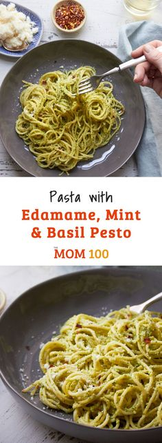 Pasta with Edamame, Mint and Basil Pesto. A simple, delicious vegetarian pasta tossed with a flavorful pesto made with fresh herbs and protein-packed edamame. Salmon Recipes, Pasta Recipes, Top Recipes, Sweets Recipes, Edamame Pasta, Basil Pesto, Easy Dinner Recipes, Dinner Ideas, Easy Meals