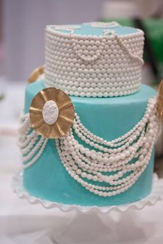 Tiffany Blue Wedding Cake with Pearls and Cameos