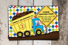 Construction, dump truck, birthday party invitation. Perfect for a little boys first or second birthday! You can even have your little boys picture added to the drivers seat :)