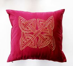 Burgundy Silk Cushion Cover With Gold Celtic Knot on by Meoneil, $25.00