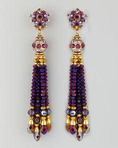Jose & Maria Barrera Bead-Tassel Earrings, Purple - Neiman Marcus http://www.neimanmarcus.com/Jose-Maria-Barrera-Bead-Tassel-Earrings-Purple/prod161800147/p.prod?eVar4=You%20May%20Also%20Like