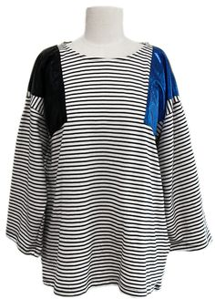 Metallic Inserts Striped T-shirt (2 Colors)    Fall & Winter   Dolly & Molly   www.dollymolly.com   #Tee #sleep #party #costume #design #art #blue #black #stylist #designer