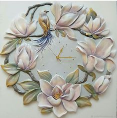 Raised Artwork & Clock on Mirror Clock Painting, Clock Art, Sculpture Painting, Ceramic Painting, Plaster Crafts, Plaster Art, Clay Wall Art, Mural Wall Art, Clay Art Projects