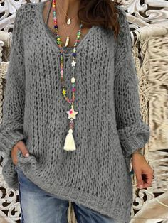 Plus Size Casual, Knit Shirt, Winter Sweaters, Women's Sweaters, Cardigans For Women, Long Sleeve Sweater, Types Of Sleeves, Winter Fashion, Fast Fashion