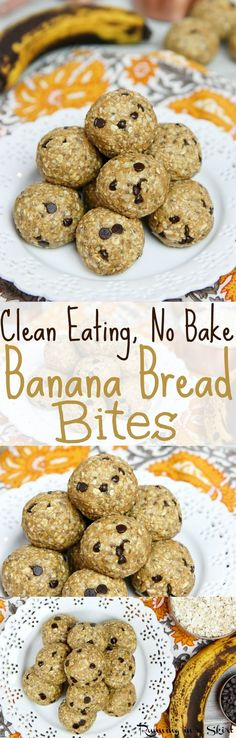 Clean Eating No Bake Banana Bread Bites recipe with chocolate chips!  With peanut butter, coconut, cinnamon and chia seeds.  Nut free, vegan, paleo friendly and no added refined sugar other than the chocolate chips!  A perfect healthy snack and great way to used over-ripe bananas! / Running in a Skirt