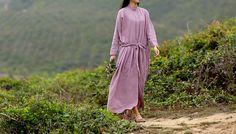 Lavender  hemp stand collar dress  purple loose fitting dress BonLife