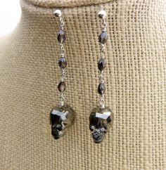 Swarovski Crystal Skull Earrings on Beaded Rosary Chain